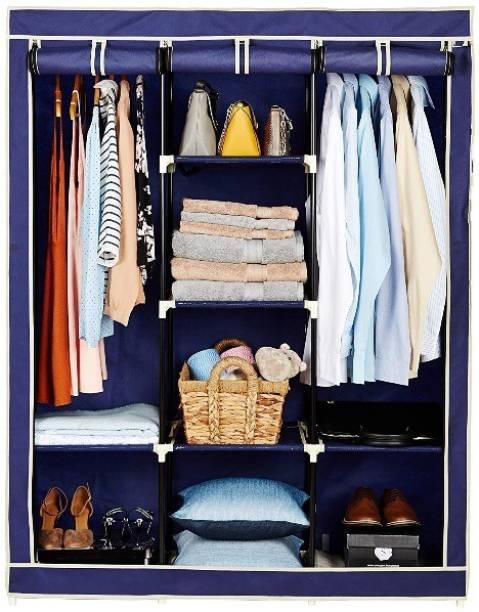 KriShyam 6+ 2 Shelves Collapsible Wardrobe PP Collapsible Wardrobe