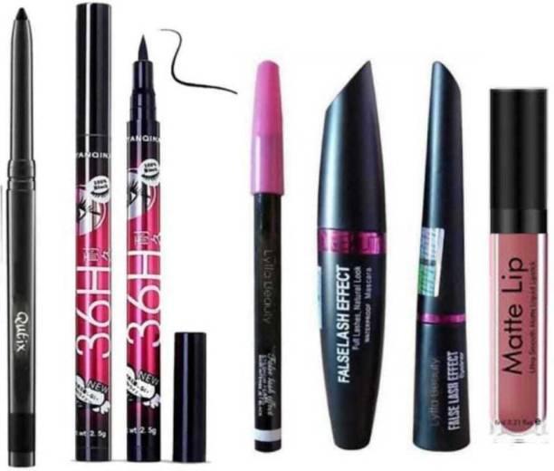 Qutix Makeup Beauty Kajal & 3in1 Eyeliner , Mascara , Eyebrow Pencil & High Quality Waterproof Liquid-Eye Liner 36H + Liquid Matte Nude Lipstick