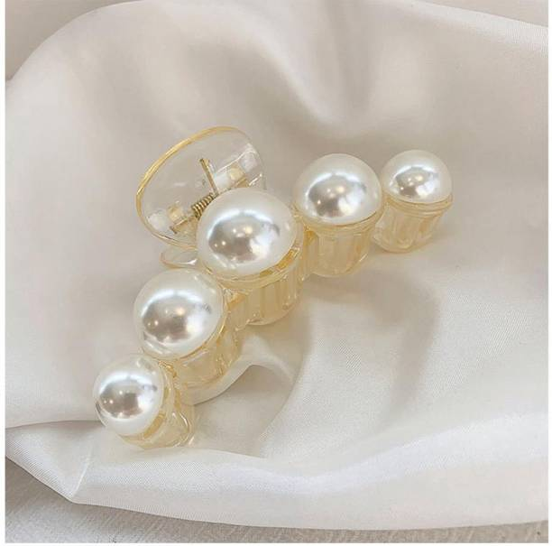 AmazingKarts 1 Pcs Large Pearl Hair Claw Clips White Hair Clips Thick Long Hair Jaw Clips Clutches Barrettes Hair Accessories for Women and Girls Hair Claw Thick Hair aw Clamp Strong Hold Hair Claw