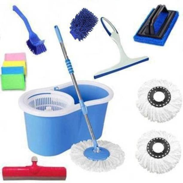 EUFLORIA House Hold cleaning bucket mop set combo with 3 Refills and 6 Different Accessories, 360 Degree Self Spin Wringing Magic Bucket Mop Cleaning Wipe, Cleaning Brush, Cleaning Bucket, Duster, Floor Wiper, Kitchen Wiper, Mop, Mop Refill, Button brush Mop Set