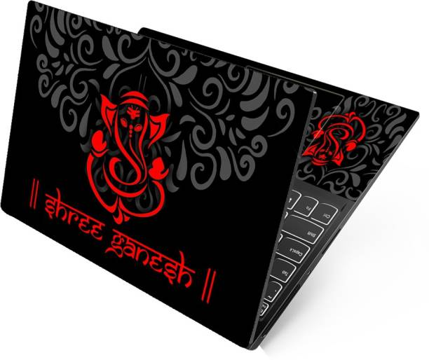 Anweshas Shree Ganesh Red Neon Full Panel Laptop Skins Upto 15.6 inch - No Residue, Bubble Free - Removable HD Quality Printed Vinyl/Sticker/Cover Self Adhesive Vinyl Laptop Decal 15.6