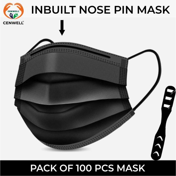 CENWELL 100 pcs PREMIUM 3 Ply Mask with Nose Pin, Ultrasonic Ear loops, Ear Saver Strap/Adjuster, Melt blown Layer in (Box Sealed Packing) with (CE FDA ISO BIS) CERTIFIED 3 Layer Disposable Pharmaceutical Surgical Pollution Face Mask for Men, Women, Kids EXCLUSIVE 3 PLY BLACK DISPOSABLE Water Resistant Surgical Mask With Melt Blown Fabric Layer