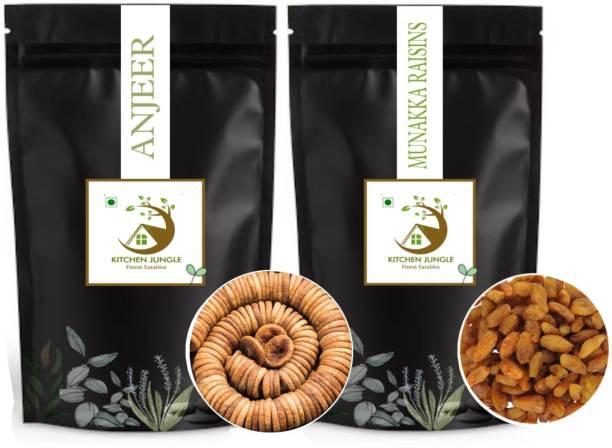 Kitchen Jungle Dry Fruits Combo Pack | Munakka Raisins (250gms) and Anjeer (250gms) | Premium Quality Guranteed. Raisins, Figs