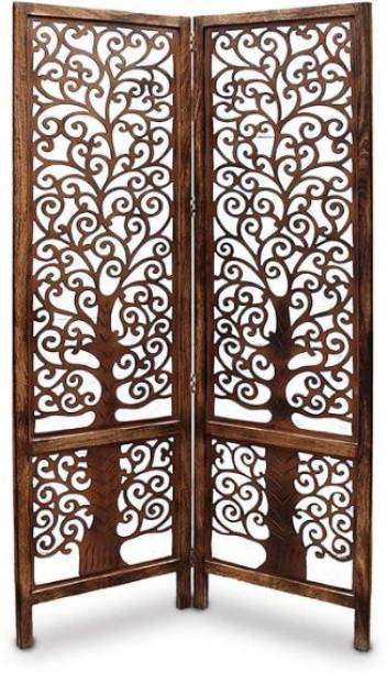 Artesia Handcrafted 2 Panel Wooden Room Partition & Room Divider ( Brown) Mango Wood Decorative Screen Partition Solid Wood Decorative Screen Partition