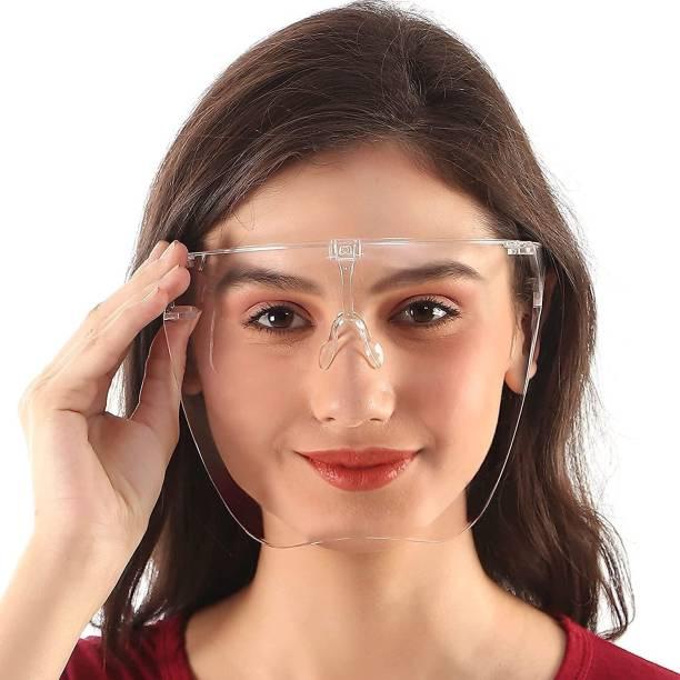 Porchex Full glass face shield Protective Face Shield Full Cover Visor Glasses/Sunglasses (Anti-Fog/Reusable/Unbreakable/washable)- Unisex Protective Face Mask Safety Visor (Size - FREE SIZE) Safety Visor