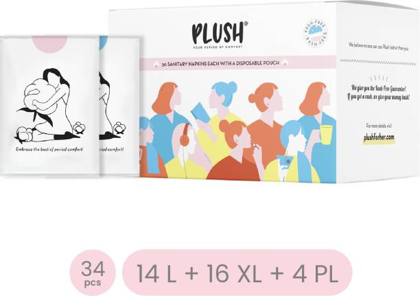 PLUSH 100% Pure Cotton Natural Sanitary Napkins with individual biodegrabdable disposable pouches inside| 100% Rash free comfort with pads for different flows | No nasty chemicals Sanitary Pad
