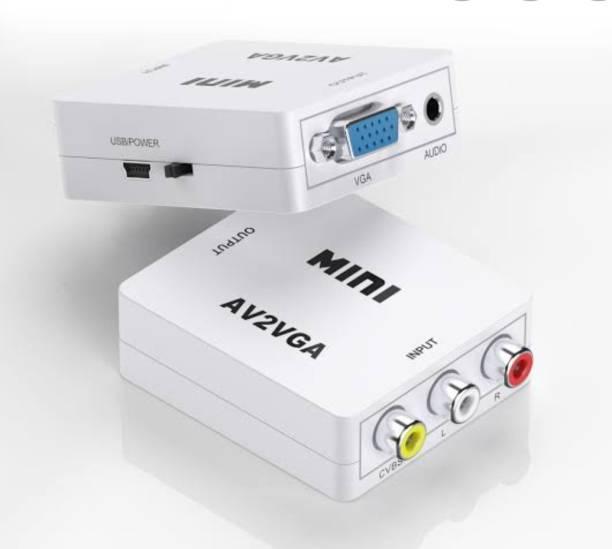 Technobyte Full HD1080P Mini/Portable AV2VGA Video Convertor Box AV RCA CVBS to VGA Video Converter Conversor with 3.5mm Audio to PC HDTV ConverterAV2VGA Video Convertor Box AV RCA CVBS to VGA Video Converter Conversor with 3.5mm Audio to PC HDTV Converter Media Streaming Device