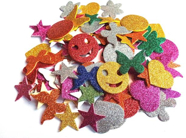 SHARMA BUSINESS Small SET OF 60 MIX GLITTER CUT OUT STICKER FOR PROJECT AND ASSIGNMENT WORK SHAPES LIKE HEART, STAR, FLOWER, SMILEY AND BUTTERFLY ETC.