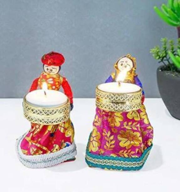 RHYTHM GIFT4U Rajasthani Kala Handmade Puppet Tealight Holder Handicraft Candle Stand for Bedroom Dinning Area Event Decoration Diwali Gifts Navratri Dussehra with Tealights, Diwali Candel Puppet Pair Candle. Candle