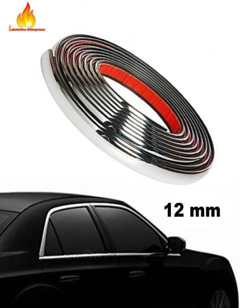 Lakshmina Enterprises Car Side Chrome Beading roll For Car Exterior Decorating and Styling Strips (12 mm 2 meter) Set of 2 Car Beading Roll For Grill and Garnish Cover, Window, Door, Bumper, Window Sill