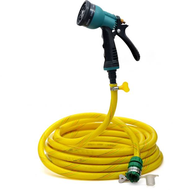 purvish 05 METER RUBBER COATED 3-LAYERED GLOSSY EFFECTED BRAIDED GOLDEN HOSE PIPE WITH ACCESSORIES (Diameter 12 mm,0.5 INCH)BIKE AND CAR WASHING Spray Gun