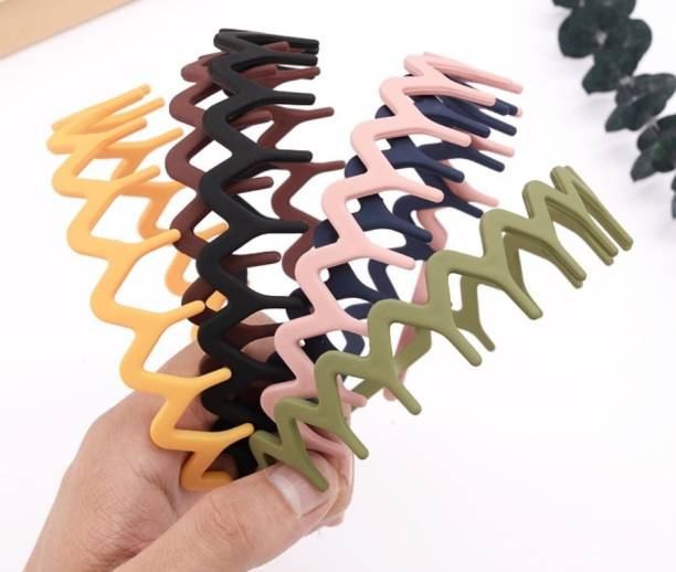 HOMEMATES 6 Pieces Plastic Headbands with Fine Comb Teeth, Mixing Set of Wide Thin Plain Plastic Headbands and Plastic Zig Zag Matte Hair Bands Woven Pattern Hair Bands for Women and Girls Hair Accessories Hair Band