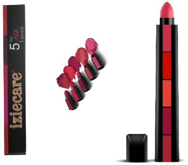 iziecare 5 in 1 color sensational matte finish lipstick fab matte shades 5 in 1 lipstick for female