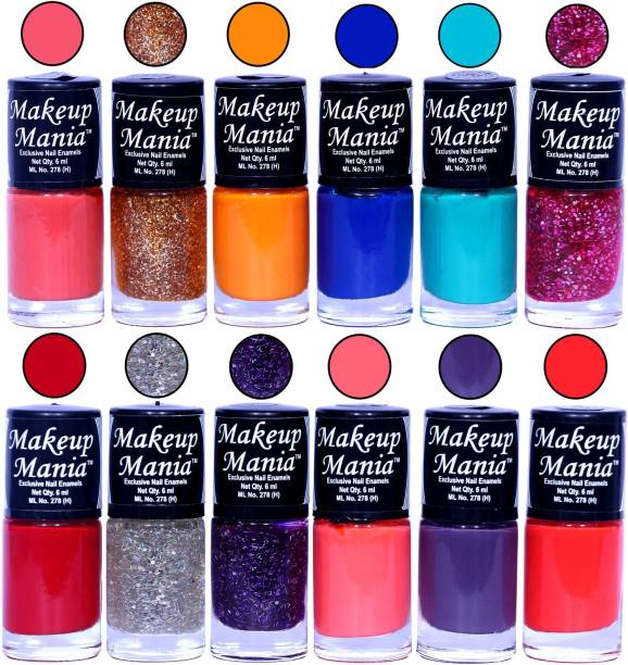 Makeup Mania HD Color Nail Polish Set of 12 Pcs (Combo MM-147) Multicolor
