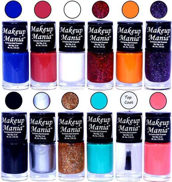 Makeup Mania Nail Poilish Set of 12 Pcs x 6ml each, Multicolor Set No. MM#90 Multicolor