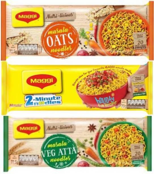 Maggi Oats Masala Noodles 290 2-Minute Instant Noodles - Masala, 420g Nutri licious Atta Masala Instant Noodles Vegetarian (290 g) Instant Noodles Vegetarian