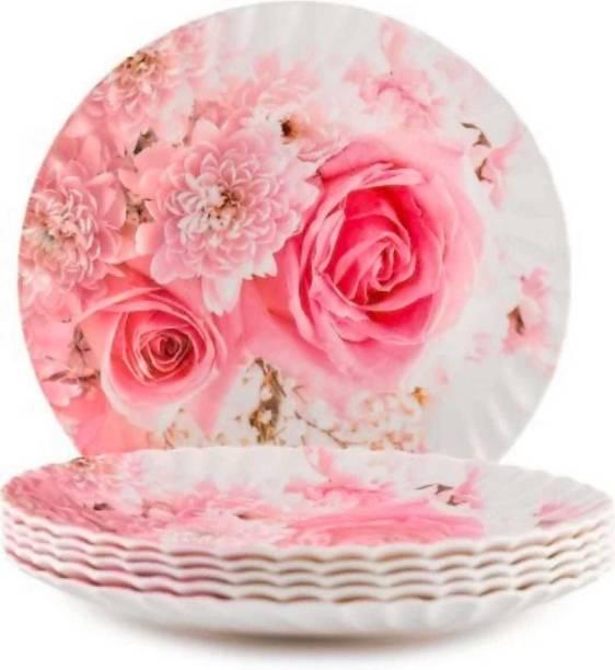 Royal Melamine Melamine Dinner Half Plate II 8 Inch Dinner Plate set of 6 I Crockery Plate Pink Flower Printed I Lunch Quarter Plate I Nasta Pizza Noodles Plate Set Half Plate