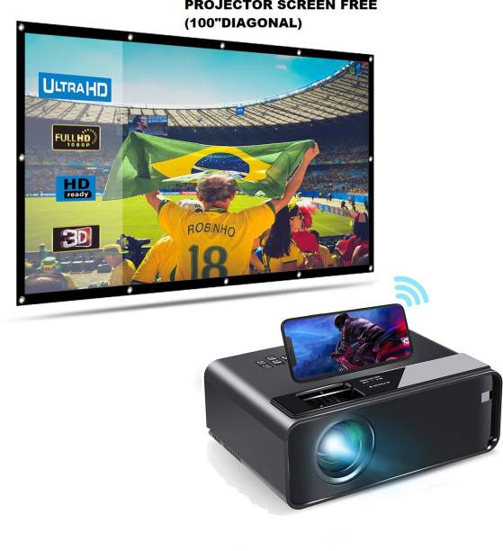 """IBS WIFI Mini Projector ,1080P HD Portable Projector with 4600 Lux and 200"""" Screen, Compatible with Android/iOS/HDMI/USB/SD/VGA Portable Projector, Projector with Synchronize Smartphone Screen with Projector Screen free (5000 lm) Portable Projector"""