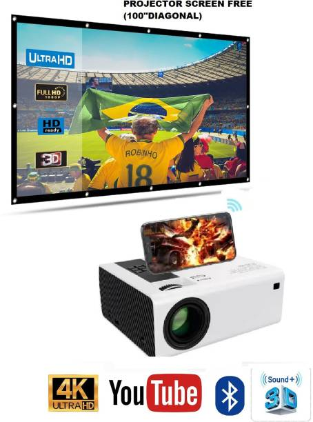 IBS BEST QUALITY COMBO PS4 GAMING FullHD 1080P Supported Projector, Bluetooth, AV/TV, USB, SD, VGA, HDMI, Miracast, Inbuilt YouTube Home Cinema BUILD IN HIGH SOUND SPEAKER (4000 lm / Wireless / Remote Controller) With Projector screen free (5000 lm) Portable Projector