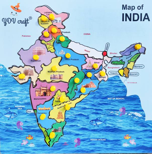 YDV CRAFT WOODEN INDIA MAP PUZZLE WITH STATES AND CAPITALS NAMES EDUCATIONAL LEARNING JIGSAW PUZZLE BOARD
