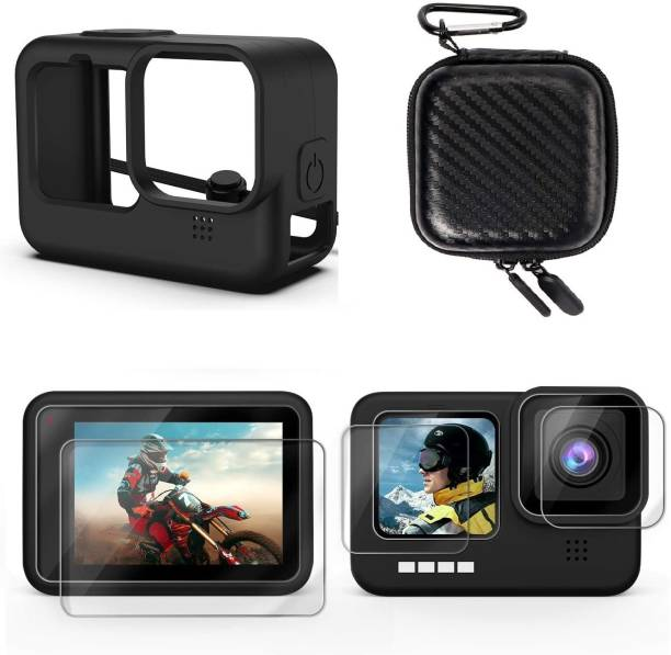 Adofys Kit for Hero 8 Black with Small case + Ultra Clear Tempered Glass Screen Protector + Lens Protector + HD Front Display Lens Protector + Silicone Rubber Protective Case  Camera Bag