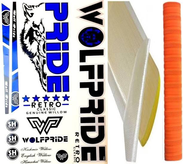 WOLF PRIDE O/BLUE RETRO CRICKET BAT STICKER COMBO KIT (STICKER, ANTI SCUFF SHEET) Bat Sticker