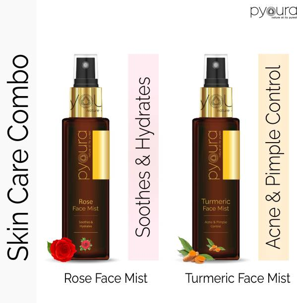PYOURA 100% Natural Skincare Combo | Turmeric: Anti-Acne & Pimple + Rose: Soothing & Hydrating | 100 ml each Men & Women