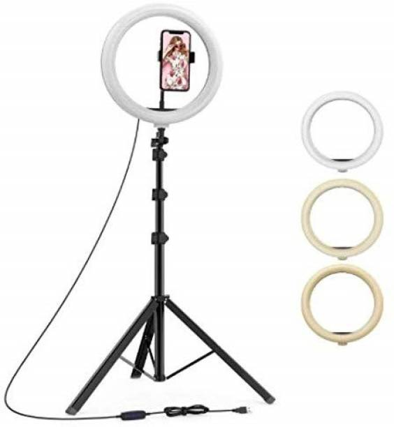 Ruskin 10 inch Professional Big LED Ring Light with 7 Feet Tripod Stand, 3 Color Modes Dimmable Lighting for YouTube, Photo-Shoot, Video Shoot, Live Stream, Makeup Tripod