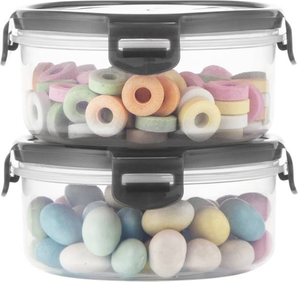 POLYSET Super Locked Round Container 570ML Black Lid - White Bottom ,  - 570 ml Plastic Utility Container