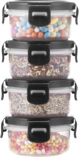 POLYSET Super Locked Round Container 130ML Black Lid - White Bottom ,  - 130 ml Plastic Utility Container