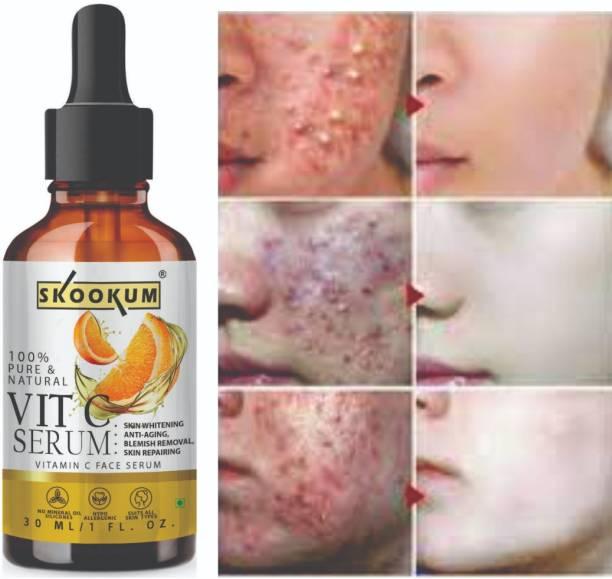 SKOOKUM Professional Vitamin C Face Serum - Skin Brightening Serum , Anti-Aging, Skin Repair, Supercharged Face Serum, Dark Circle, Fine Line & Sun Damage Corrector Face Serum