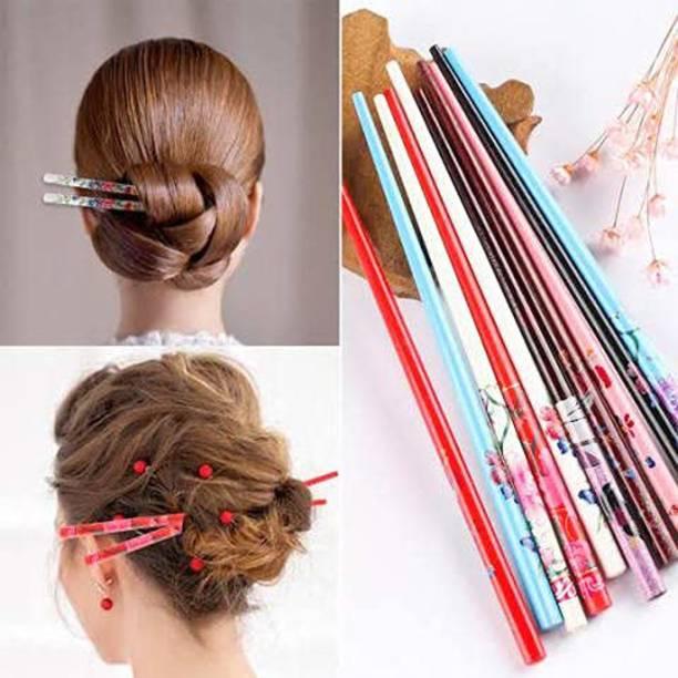 JSR Printed Hair Stick, Juda Stick, Juda Pin, Hair Pin, Hair Clip, Bun Stick-Set of 12 Pcs. Bun Clip