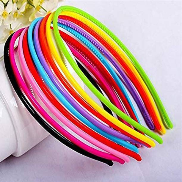 JSR Multi-colors Plastic Hair Bands with teeth Plain for Girls & women (Pack of 6) Hair Band