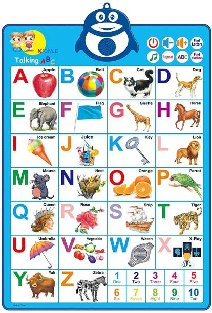DCcrafts Interactive Sound Chart with Alphabets/Numbers/Rhymes/Quiz for Kids, Toddler, Preschool Children