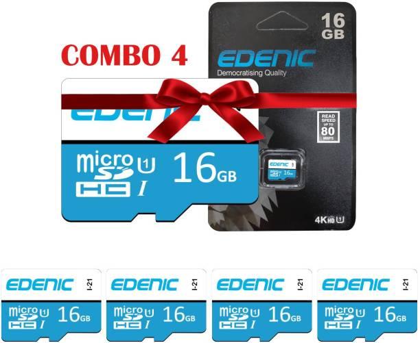 EDENIC 16GB Combo 16 GB MicroSD Card Class 10 80 MB/s  Memory Card