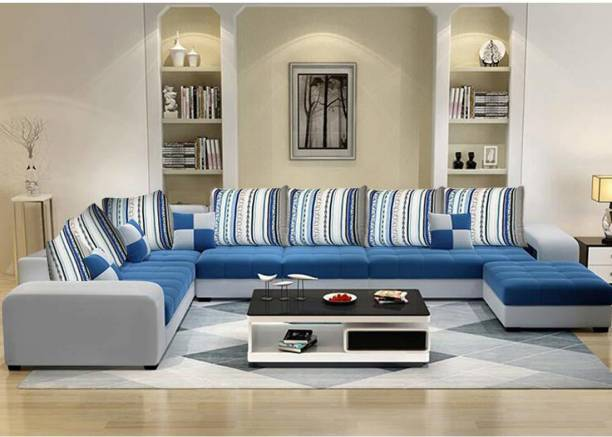CasaStyle European 8 seater LHS Corner L Shape Sofa Set (Dark Blue-Light Grey) Fabric 8 Seater  Sofa