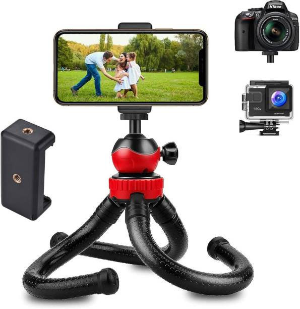 Nirvani OCTOPUS Flexible Tripod Stand with Universal Mobile Holder for Vlogging, Streaming and Photography Compatible for All DSLR, Mobile Phones and Action Cameras (Black) Tripod