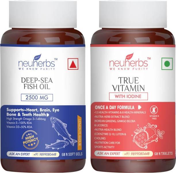 Neuherbs Supplements Combo{Deep Sea Omega 3 Fish Oil 2500mg + True Vitamin ( Multivitamin)}