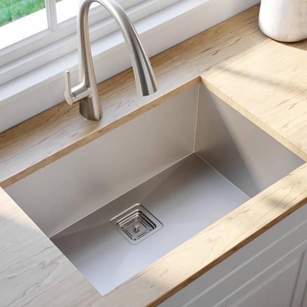 """Zesta (24""""X18""""X10"""") Luxury Imported Garnet Series Hand Made, Chrome Finish Stainless Steel Kitchen Sink Vessel Sink"""