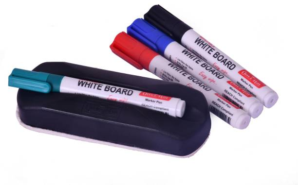 Rainbow Lorikeets Non Magnetic White Board Duster Eraser for Easy Cleaning of White Board Marker or Chalk Board with 1 Duster & 4 Markers (Set of 4) - 4 ( Red, Green, Blue and Black ) Black Dusters