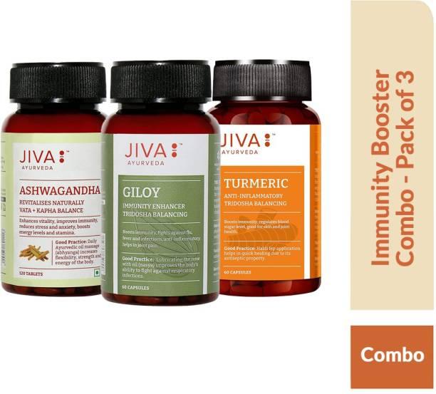 Jiva Immunity Booster Combo - Ashwagandha Tablets (120 Tablets), Giloy Capsule (60 Capsules) & Turmeric Capsules9 60 Capsules)- Pcak of 3