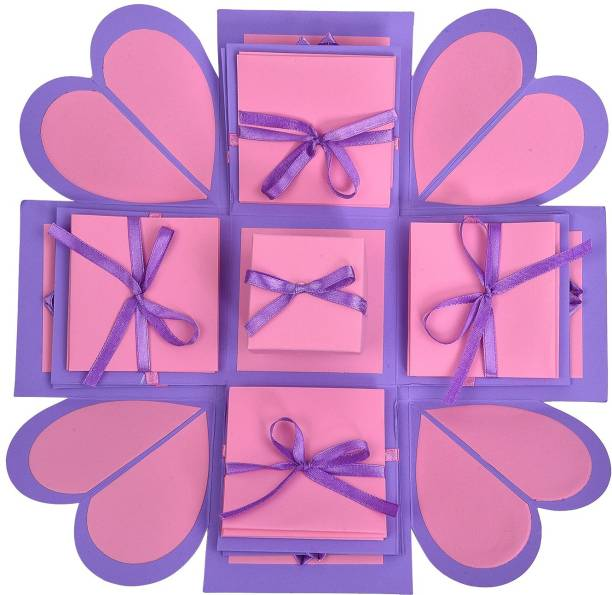 Gennies Handsel 3 Layered Paris Pink D.I.Y all occasion explosion box Greeting Card