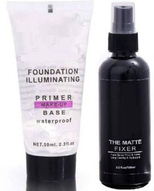 J & F Combo Of illuminating Waterproof Primer With Matte Makeup Fixer 150 ml