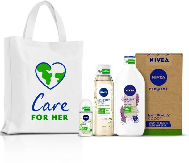 NIVEA Naturally Good Combo, Lavender Body Lotion 200 ml, Orange Blossom & Oil Shower Gel 300 ml, Bio Aloe Vera Deodorant Roll On 50 ml, Canvas Tote Bag in Eco-friendly CARE Box (4 Items in the set)