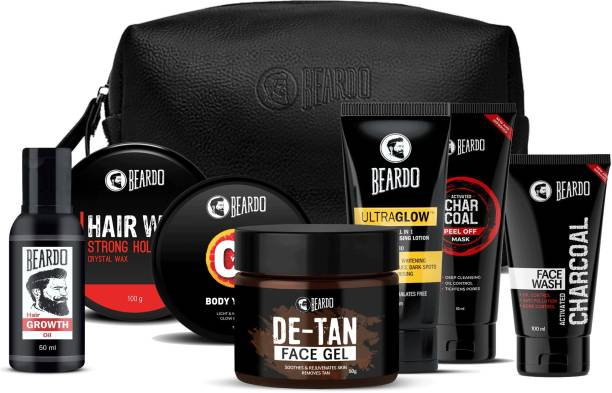 BEARDO BBD Special Perfect Face Pack Combo With Growth Oil,SH Wax100, De-Tan Gel & Vita C Body Yogurt With Pouch