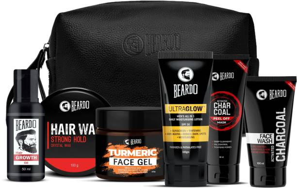 BEARDO BBD Special Perfect Face Pack Combo with Hair Growth Oil, SH Wax100, Turmeric Face Gel with Pouch