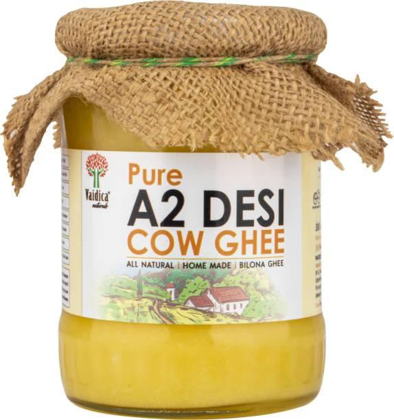 Vaidica Naturals Organic Grass-fed A2 Desi Cow Ghee   Vaidic Bilona Method   Good Fats for Healthy Heart   Immunity Booster Ghee 500 ml Glass Bottle