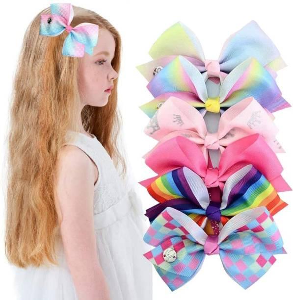 PALAY Girl's Hair Bows Alligator Clips Unicorn Grosgrain Ribbon Barrettes Accessories -6 Pieces Hair Band