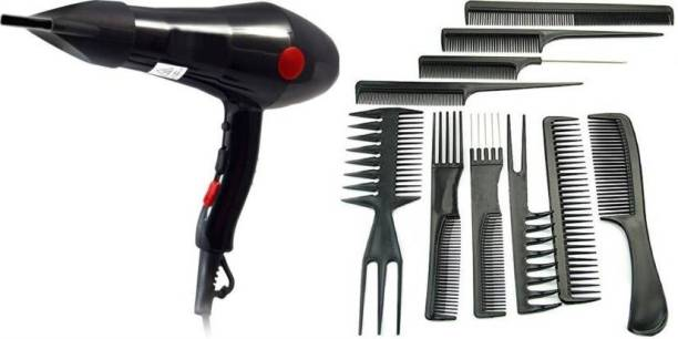BK 10 IMPORT & EXPORT 2 IN 1 PROFESSIONAL SERIES SALON Hair Dryer With 10Pcs Salon Hair Cut Styling Combs Set Hair Dryer