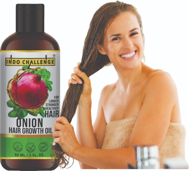INDO CHALLENGE Onion Hair Oil with 14 Essential Oils for Hair Regrowth, Dandruff Control Hair Oil